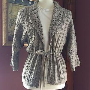Ann Taylor LOFT Wool Blend Tie Waist Cardigan